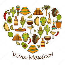 cartoon tequila vector background with cute hand drawn objects in heart shape on