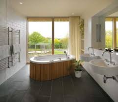 modern japanese bathroom design with white acrylic sink and grey