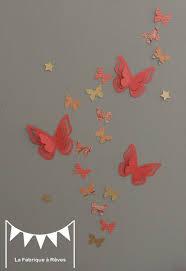 deco chambre fille papillon 25 stickers papillons corail abricot pêche gris et doré