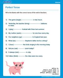 perfect tense free english worksheet for 3rd grade smart