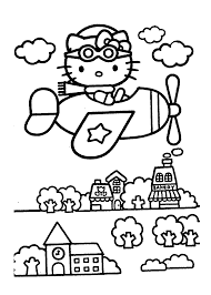 hello kitty on airplain u2013 coloring pages for kids coloring pages