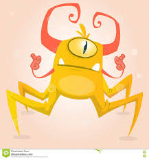 cute cartoon monster spider halloween yellow and horned monster