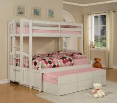 Garden Bedroom Decor with Kids Bedroom Powell May White Bunk Bed With Three Level Bed For