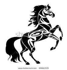 wild flaming stallion horse stock vector 251305231 shutterstock