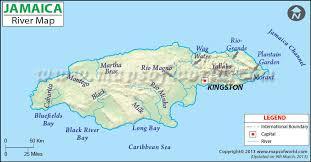 jamaica physical map jamaica river map