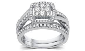silver bridal rings images 3 4 cttw diamond cluster bridal ring set in sterling silver 2 jpg