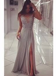 silver grey dresses wedding silver grey floor length prom dress with slit silver grey formal