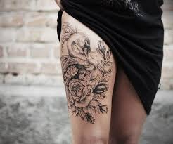 black grey white swan and roses tattoo on thigh for women