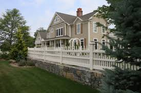 picket wooden staggered fence essex ct atlas outdoor fence company
