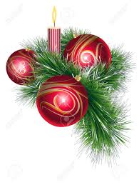 red and gold christmas balls with green tinsel and candle royalty