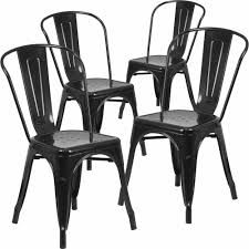 Black Patio Chairs Metal Flash Furniture Metal Indoor Outdoor Chair 4 Pack Multiple