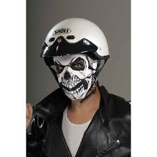 Motorcycle Rider Halloween Costume Skull Rider Biker Neoprene Halloween Mask Black White U2013 Mask Maniac