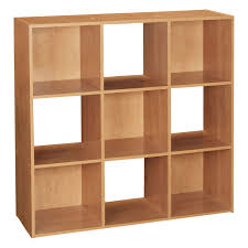 wooden storage unit 9 cube 3 tier strong bookcase shelving home