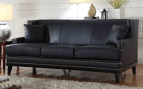 Leather Sofas Abe Modern Nailhead Trim Bonded Leather Sofa Sofamania Com
