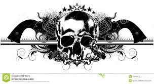skull human and guns stock vector illustration of illustration