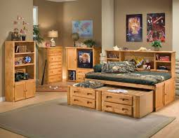 bedroom wood queen daybed with wood nightstand and wood storage