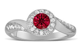 Wedding Rings For Her by Antique Designer 1 Carat Red Ruby And Diamond Engagement Ring For