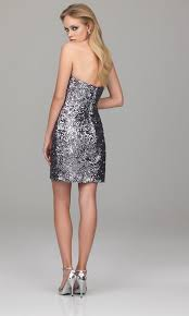 strapless silver sequined short length cocktail party gown of full