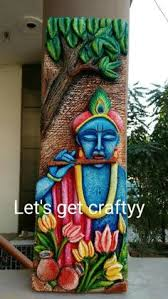 mural on wood wall mural with ganesha intricately crafted on wooden base