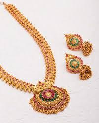 long necklace set images Buy designer necklace sets charming gold plated satva long jpg