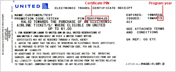united electronic travel certificates united airlines