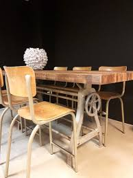 interior vintage industrial dining room table with regard to