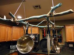 easy diy hanging storing pots and pans from ceiling with branch