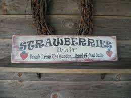 Home Decor Wall Signs by Primitive Home Decor Wood Sign Hand Painted Strawberry Kitchen
