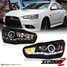 mitsubishi evolution 1 2008 2017 mitsubishi lancer evolution gsr mr black led halo