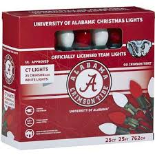 red and white bulb christmas lights university of alabama c7 colored bulb string lights bama crimson