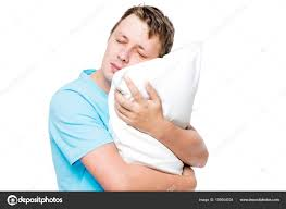 sleeping man hugging soft pillow against white background u2014 stock
