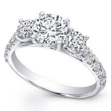 three stone wedding rings three stone pav diamond engagement ring