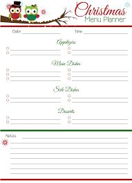 printable menu planner pages free christmas planner printables the krafty owl