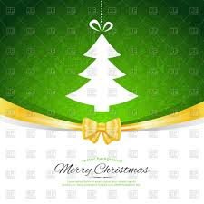 template of christmas card with ornament ribbon and fir tree