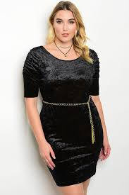 c65 a 7 dcd1532x black velvet with gold chain belt plus size dress