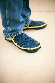 men u0027s house slippers crochet pattern in 5 sizes no 5