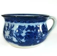 doulton burslem flow blue willow pattern chamber pot planter