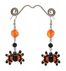rubber spider earrings for halloween