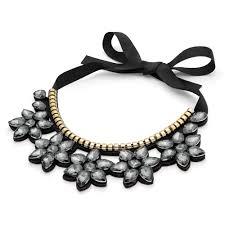 flower drop necklace images Black crystal flower drop ribbon tie necklace jewels me jpg