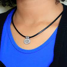cord pendant necklace images Leather cord monogram pendant necklace jpg