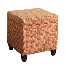Soft Ottoman Cube Homepop Fashion Storage Cube Ottoman Soft Orange Geometric