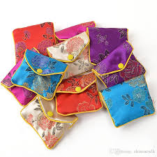 purse gift bags 2017 zipper small silk fabric coin purse gift bags for jewelry