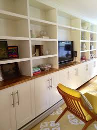Ikea Kitchen Cabinet Hacks Built Ins Ikea Adel Cabinets Below Custom Shelving On Top With