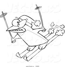 cartoon vector of cartoon ski penguin coloring page outline by