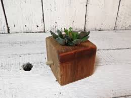 Barnwood Home Decor Succulent Planter Wood Cube Choose Your Size Reclaimed