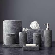 likeable mesh bath accessories kassatex on gray bathroom