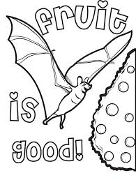 free printable bat eating fruit coloring page for kids