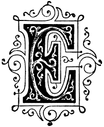 e ornamental letter clipart etc