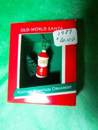 1988 hallmark miniature ornament happy santa frosted glass
