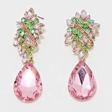 Pink Chandelier Earrings Pink And Green Chandeliers Earrings M1 Azzeli